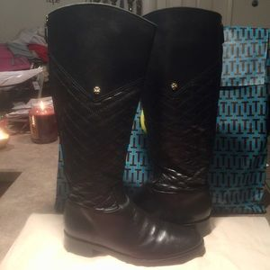Tory Burch Black Leather Equestrian Riding Boots